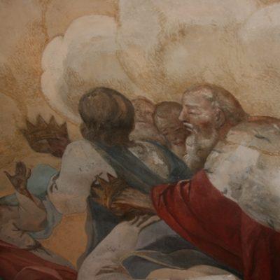 Fragment malowidła S. Stroińskiego na kopule  w trakcie punktowania ubytków.