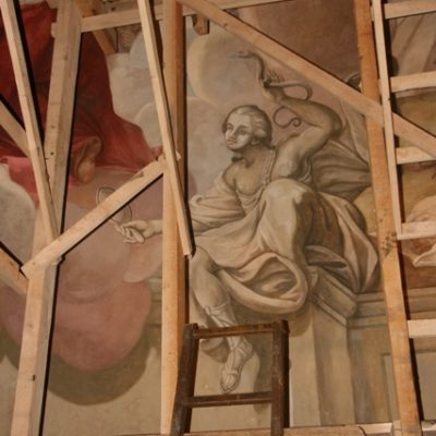 Malowidła S. Stroińskiego -  fragment po konserwacji.
