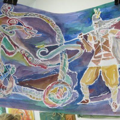 Praca z serii Inicjały malowane na jedwabiu