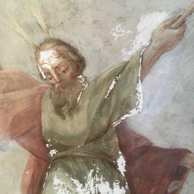 Fragment malowidła Stanisława Stroińskiego przed punktowaniem