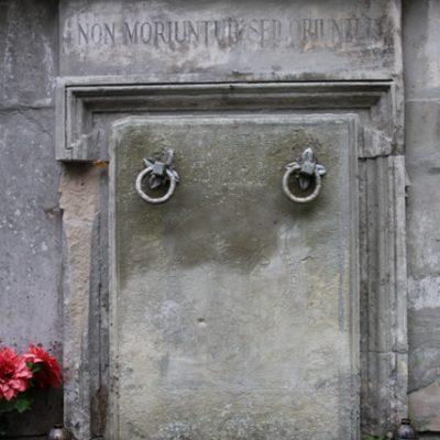 Grobowiec O.O. Karmelitów na Cmentarzu Łyczakowskim we Lwowie, zbliżenie zewnętrznej płyty zamykającej wejście do grobowca, stan przed konserwacją