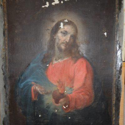 obraz Serca Pana Jezusa przed konserwacją